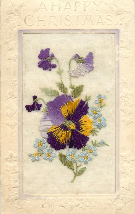 A HAPPY CHRISTMAS  silk big pansy in middle, three above and forget-me-nots