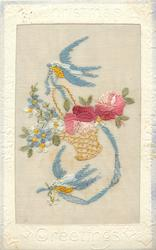 CHRISTMAS GREETINGS  silk two blue-birds with ribbon in their beak with wicker basket of flowers, two rosefors & forget-me-nots