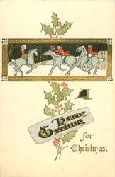 gilt rectangular inset two horsemen moving left greet woman riding right on snow, holly behind