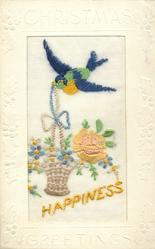 CHRISTMAS GREETINGS  silk yellow HAPPINESS, bird above with ribbon in beak, which is on wicker basket, rose, forget-me-nots