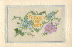 CHRISTMAS GREETINGS  silk yellow FORGET ME NOT in middle, forget-me-nots around, violets right
