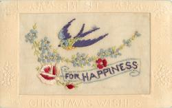 BEST CHRISTMAS WISHES  silk FOR HAPPINESS, bird above, three red flowers & forget-me-nots below