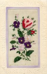 CHRISTMAS GREETINGS  silk white & purple violets, snowdrops, pink/red rose & red bud