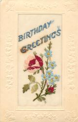 BIRTHDAY GREETINGS  in blue, one red/pink rose, bud (pink or red) below, (white or blue) forge-me-nots right