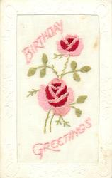 BIRTHDAY GREETINGS embroidered, two pink/red roses between greetings