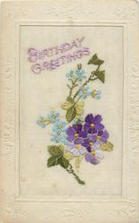 BIRTHDAY GREETINGS  in purple above, six purple violets & forget-me-nots