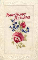 MANY HAPPY RETURNS  in red, red/pink/white rose & bud, and small blue flowers