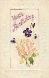 YOUR BIRTHDAY  in purple or pink, big rose below, purple violets