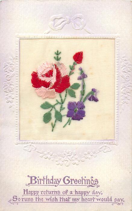 BIRTHDAY GREETINGS  inset pink/red rose & bud, purple violets