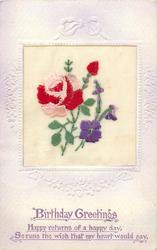 BIRTHDAY GREETINGS  inset pink/red rose & bud, purple violets