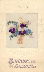 BIRTHDAY GREETINGS  wicker basket inset with violets, forget-me-nots