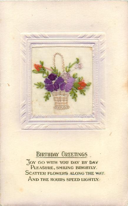BIRTHDAY GREETINGS  wicker basket inset with violets and two red buds