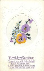 BIRTHDAY GREETINGS  in purple, circle inset, two pansies & two buds and forget-me-nots