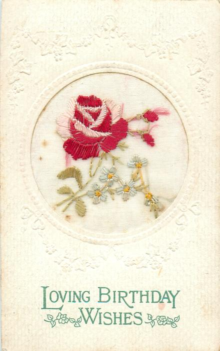LOVING BIRTHDAY WISHES  circle inset, big red/pink rose & two buds, white forget-me-nots with green or yellow middle
