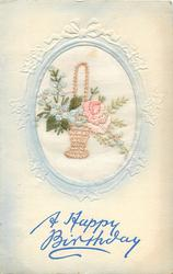 A HAPPY BIRTHDAY  in blue, inset wicker basket with pink rose right, blue forget-me-nots left, one right