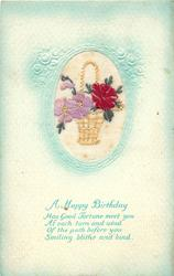 A HAPPY BIRTHDAY  inset wicker basket with red rose right, purple violets left