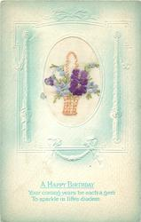 A HAPPY BIRTHDAY  inset wicker basket with blue forget-me-nots and purple violets left