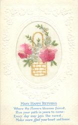 MANY HAPPY RETURNS  inset wicker basket with handle, two red/pink roses, one each sides and blue forget-me-nots