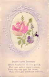 MANY HAPPY RETURNS  inset big pink rose left, violets right
