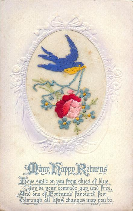 MANY HAPPY RETURNS  inset bird with blue ribbon in beak, carries rose & forget-me-nots