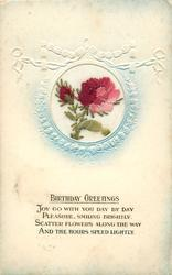 BIRTHDAY GREETINGS  inset pink/red rose & bud left