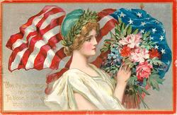 MAY THY SWEET BLOSSOMS NEVER CEASE TO BLOOM IN LOVE AND TRUST AND PEACE'  symbolic lady carries flowers, flag behind