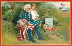 IN TOKEN OF THE LOVE WE BEAR, OUR OFFERINGS 'ROUND WE STREW'  Veteran, girl & flag