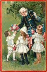 COVER THEIR GRAVES WITH LAUREL AND PALM!'  Veteran & three children