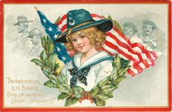 THE DAYS ORATION IS IN FLOWERS, SING, YE GARDENS! SPEAK, YE BOWERS!'  girl & flag