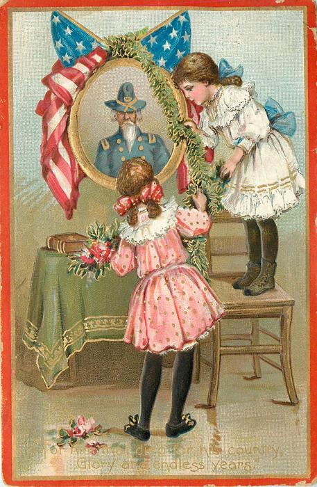 FOR HIM THAT DIE FOR HIS COUNTRY GLORY AND ENDLESS YEARS'  two girls look at painting of soldier