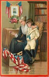 AND EVERY PATROIT'S DUST SHALL CLAIM AFFECTION'S TENDEREST TEARS'  grieving wife & child with effects & flag