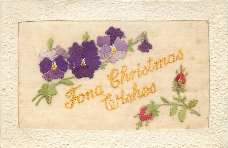 FOND CHRISTMAS WISHES  three pansies & one bud, two red flower buds bottom right