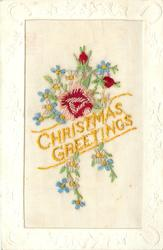 CHRISTMAS GREETINGS  in yellow, pink/red rose & two red buds, forget-me-nots