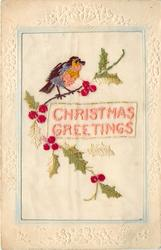 CHRISTMAS GREETINGS  in pink, bird top left on holly branch
