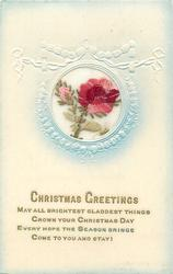 CHRISTMAS GREETINGS  in gilt, red/pink rose right & pink bud