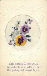 CHRISTMAS GREETINGS  two pansies & two buds, forget-me-nots