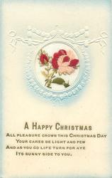 A HAPPY CHRISTMAS  in gilt, inset red/pink rose right, red bud left