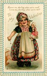 TO MY VALENTINE, Dutch girl carries doll