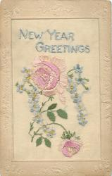 NEW YEAR GREETINGS  in blue, big pink rose in centre, smaller below, and forget-me-nots