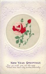 NEW YEAR GREETINGS  inset pink/red rose left, bud right