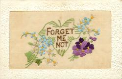 FORGET ME NOT  bunch of violets bottom right, forget-me-nots left & right, top