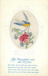 MY THOUGHTS ARE ALL OF YOU  bird with blue ribbon in beak, carries rose, forget-me-nots