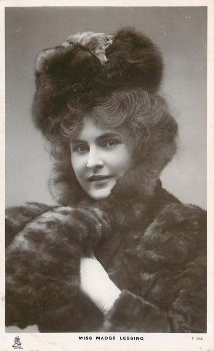 MISS MADGE LESSING  wearing fur, left hand to right shoulder, looking front