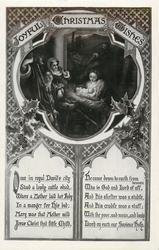 JOYFUL CHRISTMAS WISHES  Mary holds Jesus being adored