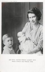 HER ROYAL HIGHNESS PRINCESS ELIZABETH WITH PRINCE CHARLES AND PRINCESS ANNE