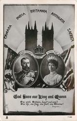 2 insets of King & Queen,two flags, towers,GOD SAVE OUR KING AND QUEEN, ONE WITH BRITAIN//THRONE