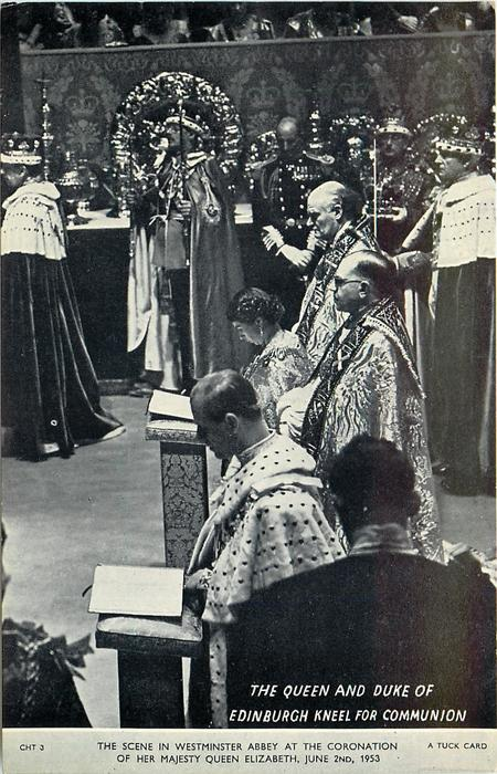 THE QUEEN AND DUKE OF EDINBURGH KNEEL FOR COMMUNION