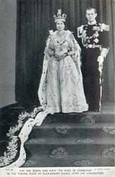 H.M. THE QUEEN AND H.R.H. THE DUKE OF EDINBURGH IN THE THRONE ROOM AT BUCKINGHAM PALACE AFTER THE CORONATION