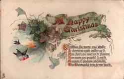 A HAPPY CHRISTMAS  CHRISTMAS,THE MERRY AND KINDLY IS DAWNING AGAIN/HEARTH