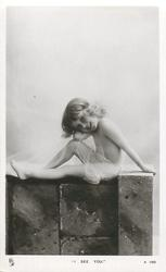 """""""I SEE YOU.""""  young girl in sheer wrap sitting on ledge"""
